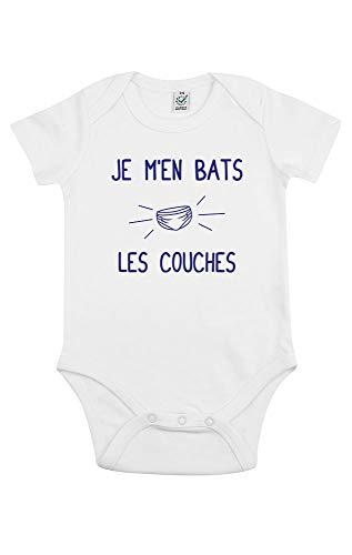 TSHIRT corner - Je m'en Bats Les Couches - Body Bébé - Idée Cadeau Fun - Humour - Drôle - Coton Bio - Blanc - 6 à 12 Mois