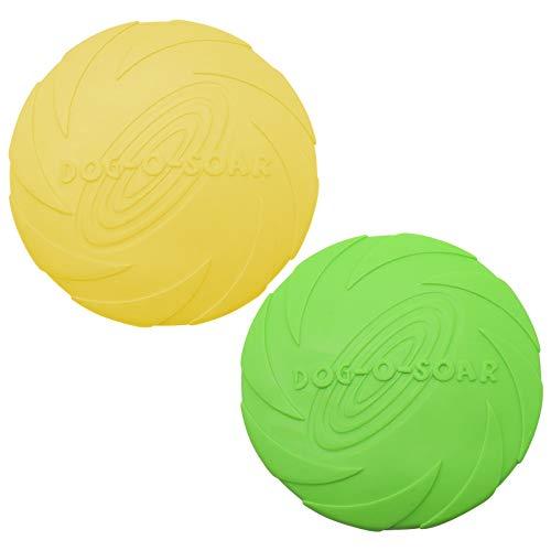 TUAKIMCE Frisbee, disco per cani, 2 pezzi, giocattolo per cani, frisbee, in gomma, diametro 18 cm, per cani e terreni, per addestramento del cane, lanciare, catturare e giocare (giallo + arancione)