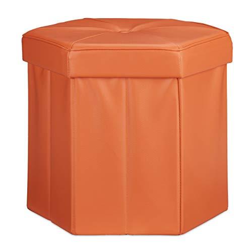 Relaxdays Tabouret de rangement pliant pouf avec couvercle H x l x P: 38 x 42 x 42 cm coffre en similicuir banc pliable repose-pieds, orange