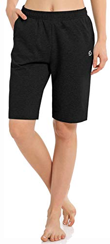 Women's Workout Lounge Bermuda Shorts - Gym Yoga Athletic Running Sweat Long Shorts with...