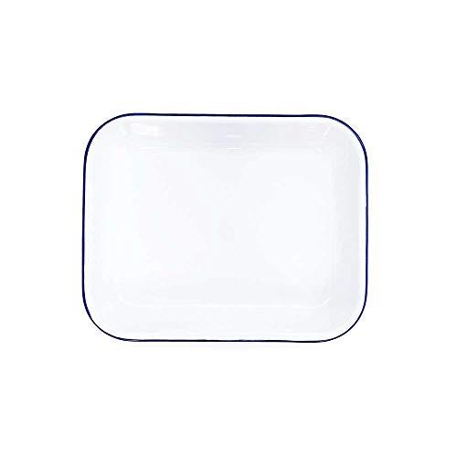 Enamelware Open Roaster, 13 x 10 inches, Vintage White/Blue