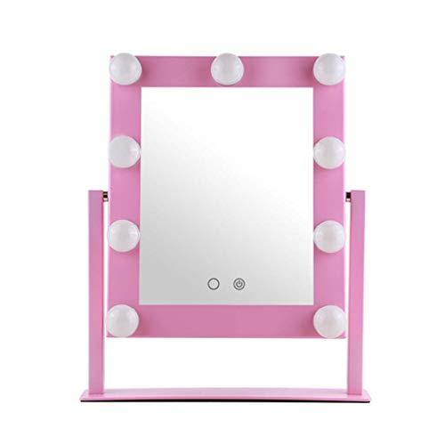 Miroir Maquillage Lumineux Miroir de maquillage Hollywood éclairé avec 13 ampoules à intensité variable | Miroir de rasage de salle de bain | Miroir cosmétique | Touch Control | Rose
