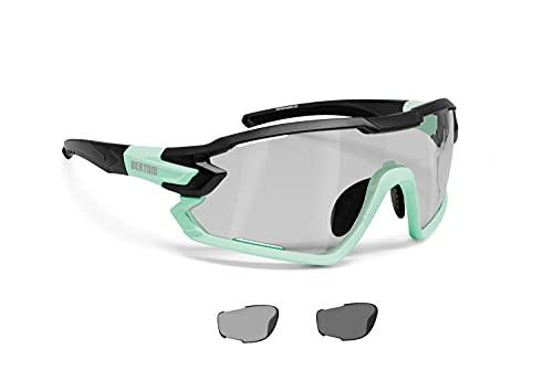 BERTONI Gafas Ciclismo Running MTB Esquí Tennis Padel Polarizadas Fotocromaticas mod. Quasar (Negro-Aguamarina/Fotocromaticas Polarizadas)