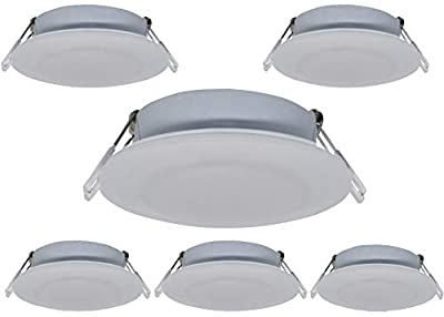 Risestar LED RV Recessed Ceiling Light 4.5Inch DC12V Cabinet Light Interior Lighting for RV Camper Caravan Trailer Boat, Warm White (Pack of 6)