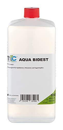 Aqua Bidest – 1 litro de agua de laboratorio, agua pura, agua bisilenciada, 2 veces destilada, desmineralizada por osmosis