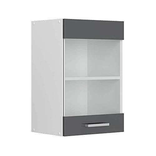 Vicco Küchenschrank Hängeschrank Unterschrank Küchenschränke Küchenunterschrank Arbeitsplatte, Möbel verfügbar in anthrazit und weiß (anthrazit ohne Arbeitsplatte, Hängeglasschrank 40 cm)