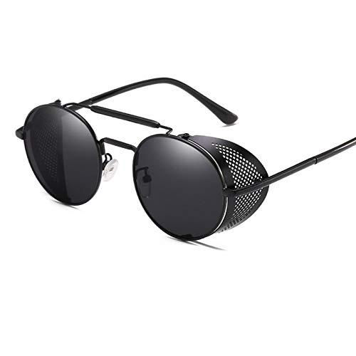 NJJX Gafas De Sol Steampunk Redondas Retro Para Hombres Y Mujeres, Gafas De Protección Lateral, Montura Metálica, Lentes De Espejo Góticas, Gafas De Sol Blackblack