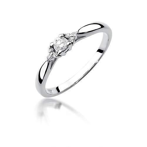 Damen Versprechen Ring Verlobungsring Antragsring 585 14k Gold Weißgold natürlicher echt Diamanten Brillanten