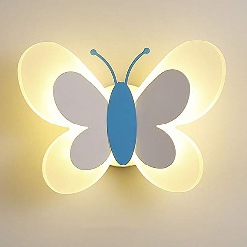 MINGRT Apliques de Pared de LED Escaleras, Mariposa Creatividad 14W Iluminación de Pared para Habitación de Niños con Tire del Interruptor Lámpara de Noche para Dormitorio, Pasillo (Color : Blue)