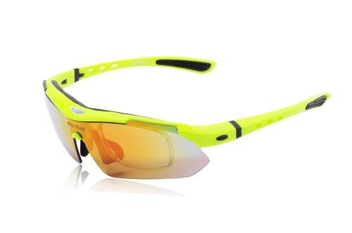 WOLFBIKE BYJ-013 Sonnenbrillen Radsport brille Fahrradbrille f. Außen Skilaufen Radfahren Fahrräder und andere Sport-Schutz mit 5 Wechselobjektiven (Grün) - 6