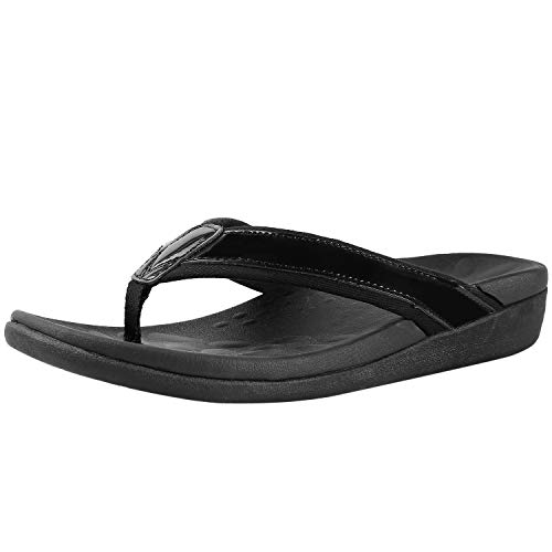 Comfortable Orthaheel Flip Flops for Women, Best Arch Support Sandals for Plantar Fasciitis, Heel and Foot Pain Relief Sandals for Flat Feet Black Size 9