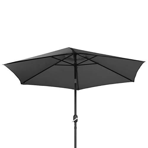 Ribelli Sonnenschirm Durchmesser ca. 270 o. 240cm Polyester Knickgelenk am Kopf - Stahlrohr mit schwarzer Pulverbeschichtung - Schutz gegen Sonne in Vier Farben, Höhe ca. 250 cm UV50+ (270cm, grau)