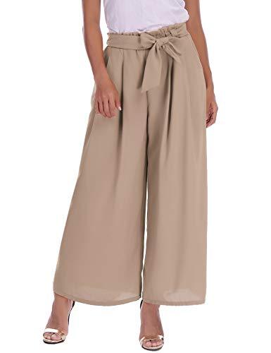 Abollria Damen Weite Hose Chiffon Paperbag Hose Casual Fließend Culotte Weite Bein Hohe Taille mit Bindegürtel,Kahki,XL