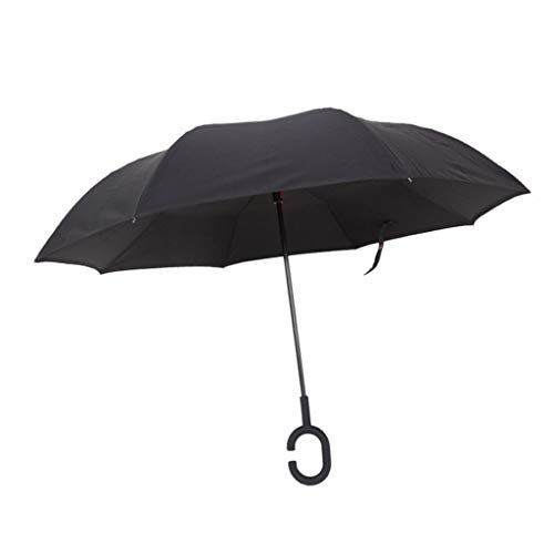 IPOTCH Inverted Stockschirme, Sturmfest Regenschirm, Umgedrehter Regenschirm mit C Griff, Double Layer Schirme 125cm für zwei Personen - Schwarz