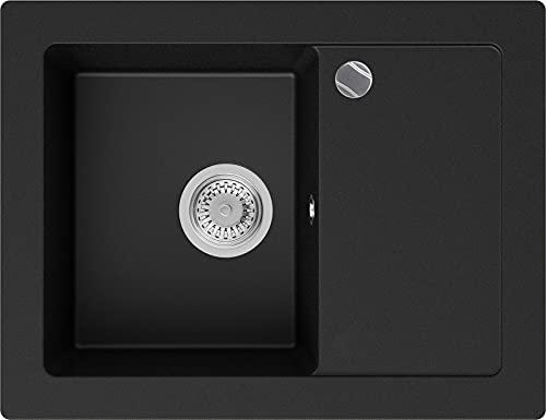 Lavabo de Cuisine en Granit Noir, 64 x 49 cm, Évier 1 bac + Siphon Automatique, 5 couleurs et option antibactérienne, Évier à Encastrer de Primagran
