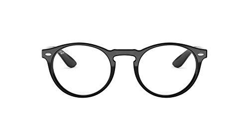 Ray-Ban Men's RX5283 Round Prescription Eyeglass Frames, Shiny Black/Demo Lens, 49 mm