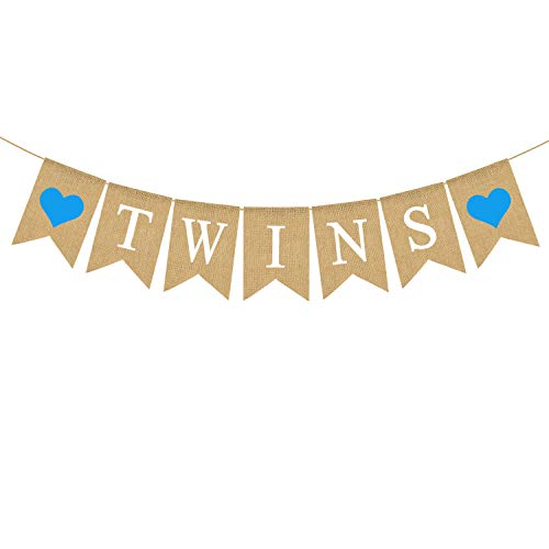 Rustikales Jute-Zwillingsbanner für Zwillinge, Jungen, Babyparty, Party-Dekoration.