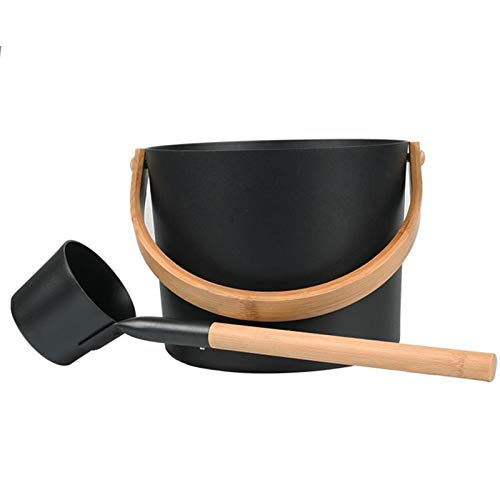 Ocobetom Secchio per sauna finlandese, in alluminio, 7 l, con manico lungo in legno, set di cucchiaini abbinati