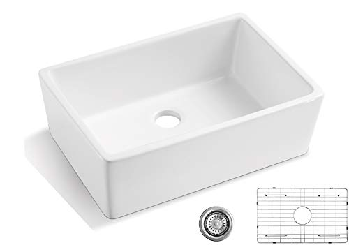 Luxury 24 inch Fireclay Farmhouse Apron-Front Kitchen Sink Single Bowl - ALWEN White Ceramic Sink with Stainless Steel Grid and Strainer