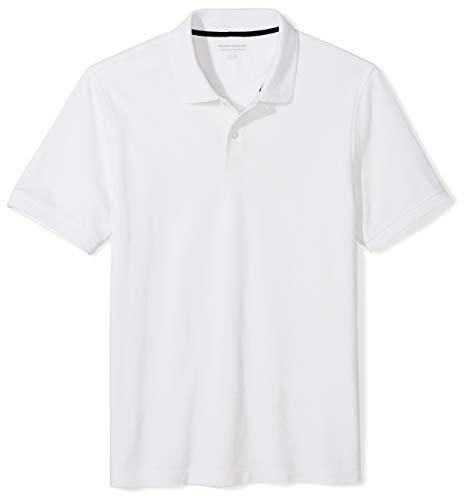 Amazon Essentials Slim-Fit Cotton Pique Polo Shirt Shirts, Blanco, US M (EU M)