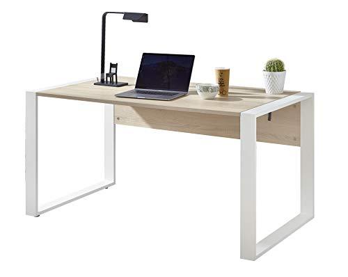 RÖHR Schreibtisch Computertisch 150 cm Kufengestell Weiß (Sonoma Eiche Nachbildung, Holz/Metall) Plattenstärke 22 mm Serie Direct.Office