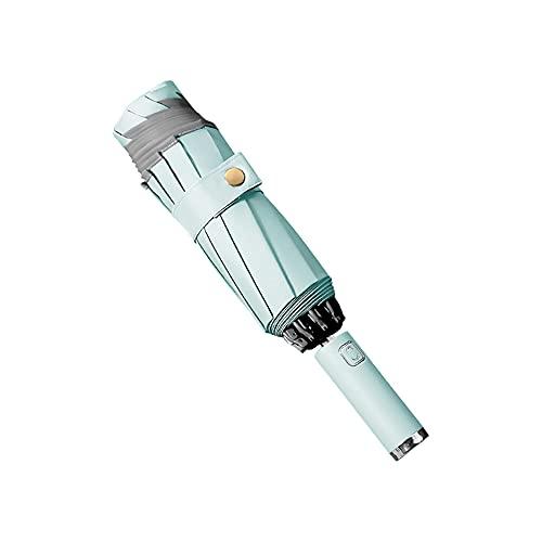 Grevosea Paraguas triple con luces LED, protección contra la lluvia, protección contra la lluvia, multicolor, duradera, totalmente automática