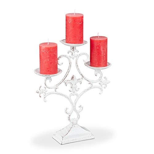 Relaxdays Kerzenständer, 3-armig, Kerzenhalter Stumpenkerzen, Shabby, Vintage, Gusseisen, HBT 28,5 x 23 x 7,5 cm, weiß, 1 Stück