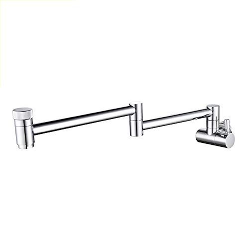 Sink Faucets Taps Washbasin Faucet Kitchen Sink Double Switch Faucet Black Wire Drawing Process, Two-tone Wall Folding (Color : Silver)
