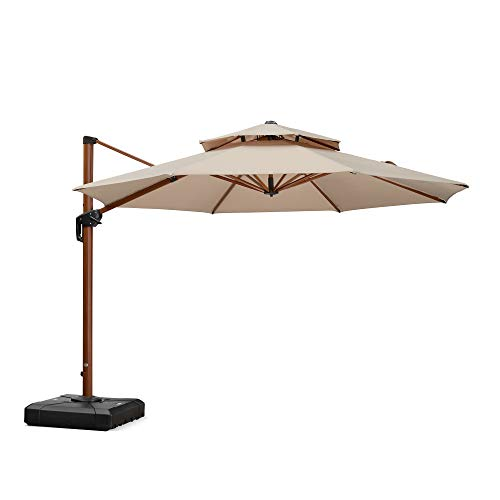 PURPLE LEAF 11ft Patio Umbrella Outdoor Round Umbrella Large Cantilever Umbrella Windproof Offset Umbrella Heavy Duty Sun Umbrella for Garden Deck Pool Patio, Beige