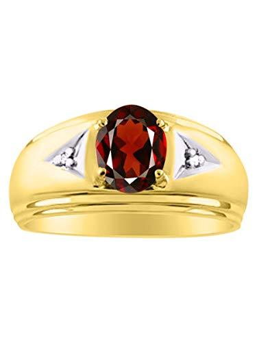 Para hombre Classic Oval Granate Y Diamante Juego de anillos en plata chapado en oro amarillo .925enero Birthstone