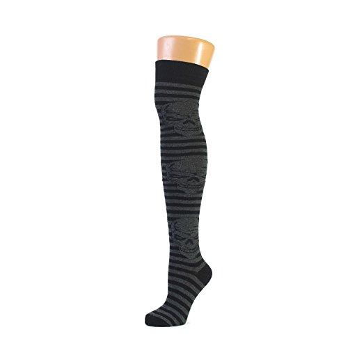 Hat To Socks Schädel auf Streifen Design Graue Overknee Strümpfe