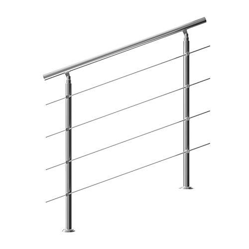 Monzana Ringhiera per scale acciaio inox antiruggine 120cm 4 traverse interno esterno corrimano da parete parapetto