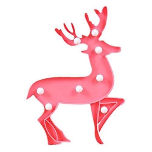 Mobestech luces de marquesina de alces de navidad reno de navidad luz de señal led de dibujos animados lámpara de...