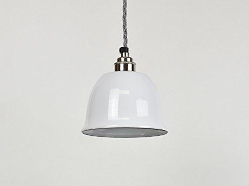 Klein Weiß Bell Cup Industrie Emaille Vintage Factory Lager-Stil Lampe Schatten