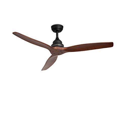CREATE IKOHS WINDWOOD - Ventilatore da soffitto con controllo remoto, 3 pale in legno naturale, 75W di potenza, Ultrasilenzioso, 132 cm di diametro, 3 velocità (Nero Opaco)