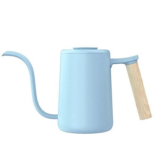 BGROEST Cafetera Nacional Cafetera De Oficina Hecho a Mano de café Caldera de Acero Inoxidable de Goteo Cafetera Boca Fina Pot hogar de Cuatro Colores Opcionales (Color : Azul, tamaño : Un tamaño)