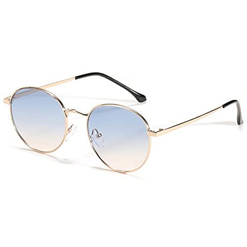 Tanxianlu Gafas de Metal Dorado para Hombres Lente degradada Uv400 Mujeres Gafas de Sol pequeñas Accesorios Redondos Verano Azul Marrón,F