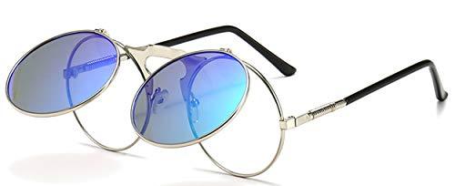 JFAN Retro Redondas Gafas de Sol Metálico Hippie Steampunk UV400 Gafas de Sol Unisex Adulto Marco de Metal