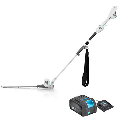 """Swift 40V Cordless Pole Hedge Trimmer Long Reach 18"""" Cutting Length 6 Position Adjustable Head with Battery and Charger"""