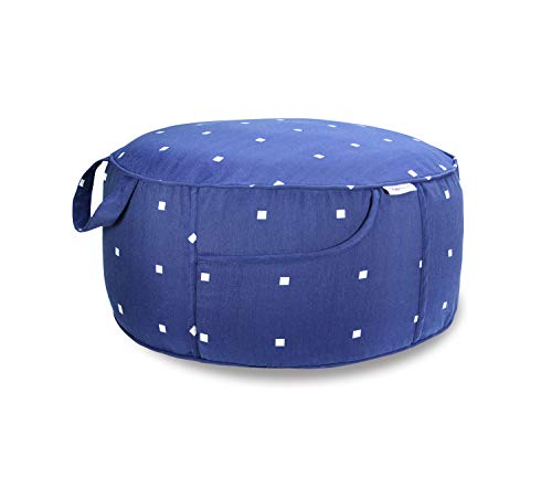 Fabritones Indoor Outdoor Inflatable Stool Round 21x9 Inch Ottoman Navy Polka Dot Portable Foot Rest for Patio Camping Home Yoga