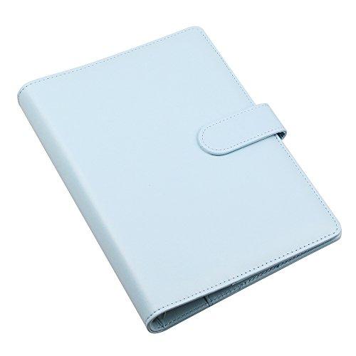 A5 PU-Leder-Notizbuch, nachfüllbar, runder Ringbucheinband (mit 6 Ringen) für A5 Füllpapier, Reisetagebuch, Cover mit Visitenkartenfach, Schreibtagebucheinband mit magnetischer Schnalle Mint Blue