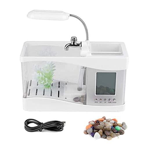 CZA USB Mini Desktop Aquarium Für Bürodekoration, Multifunktions-Aquarium Mit Schwanenhalslampe/Stifthalter/Ewiger Kalender/Wecker/Thermometer,Weiß