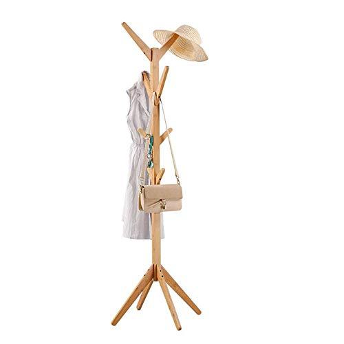 JIAYING porte-manteaux Présentoir en forme d'arbre en bambou debout avec 4 rangées de 8 crochets et pieds solides pour des vêtements, foulards et chapeaux, couleur naturelle bambou Multifonction