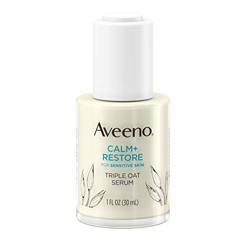 Aveeno Calm + Restore Triple Oat Hydrating Face Serum for Sensitive Skin, Gentle and Lightweight Facial Serum to Smooth and Fortify Skin, Hypoallergenic, Fragrance- and Paraben-Free, 1 fl. oz