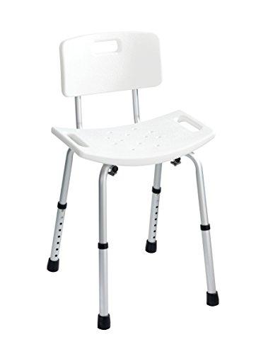 WENKO 20926100 Badhocker mit Rückenlehne Secura - 130 kg Tragkraft, Kunststoff, 50 x 65.5-83.6 x 51.5 cm, Weiß