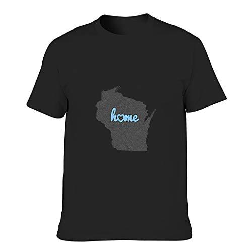 YCNJJB Camiseta de algodón para hombre, diseño de Mapa de Wisconsin