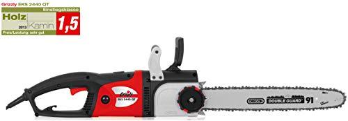 Grizzly Elektro Kettensäge EKS 2440 - Motorsäge mit 2400 Watt, 46 cm Schwertlänge, Oregon Kette und Schwert, Längsmotor für ideale Gewichtsverteilung