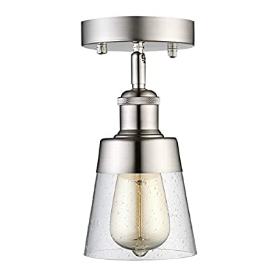 Modern Glass Flush Mount Light Fixture Mini Clear Seeded Glass Shade Semi Flush Mount Ceiling Light for Hallway Living Room Bedroom Kitchen Entryway, Brushed Nickel