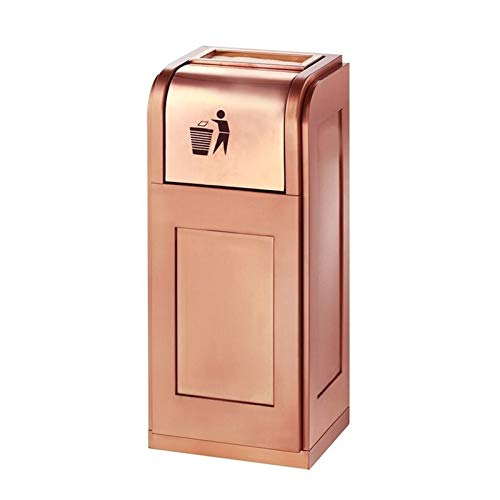 LOMJK Cubo de basura de acero inoxidable para interiores con cubo interior, cubo de basura para exteriores con cenicero, adecuado para el hogar, oficina, jardín, parque, papelera (color oro rosa)