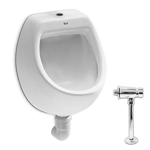 VBChome Set Urinal + Spülventil Zulauf Oben Weiß Modern Hochwertig Keramik Pinkelbecken senkrecht Pissoir Mini Urinalspüler Druckspüler